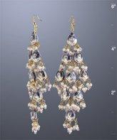 purple enamel teardrop chandelier earrings