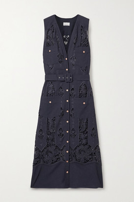 Miguelina Alexia Belted Crochet-trimmed Cotton And Linen-blend Midi Dress - Midnight blue