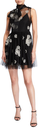 RED Valentino Short Point d'Esprit Tulle Dress w/ Floral Organza Applique