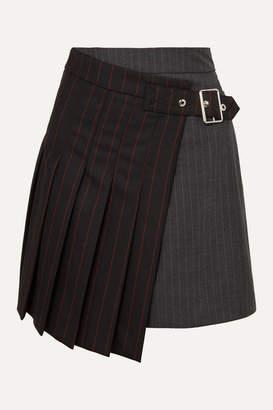 McQ Asymmetric Pinstriped Grain De Poudre And Wool Skirt - Black