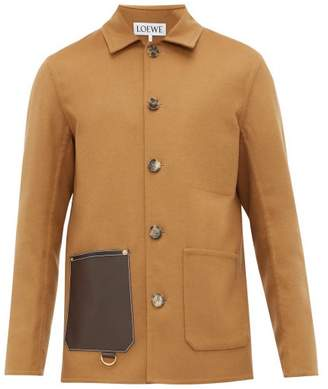 Loewe Leather Pocket Wool Blend Jacket - Mens - Camel