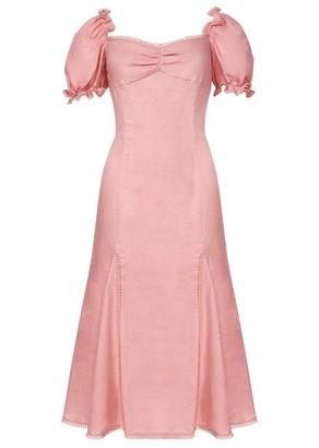 True Decadence Dusty Pink Statement Sleeve Midi Dress