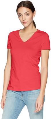 Nautica Women's Short Sleeve Stretch V Neck Solid T-Shirt