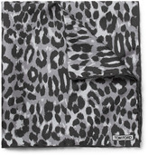 Tom Ford Leopard-Print Silk Pocket Square