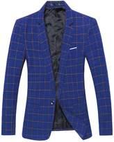 Benibos Mens Casual One Button Slim Fit Plaid Blazer Jacket (L, )