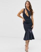 Asos Design DESIGN one shoulder slash detail pep hem bodycon midi dress