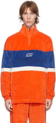 Martine Rose Orange and Blue Velour B-Unari Half-Zip Sweatshirt