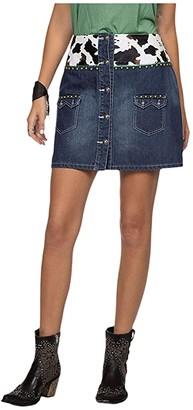 Double D Ranchwear Wow Cow Baby Skirt (Denim) Women's Skirt