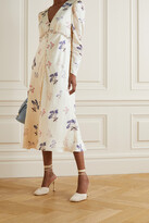 Thumbnail for your product : Self-Portrait Crystal-embellished Floral-print Satin Midi Dress - Cream
