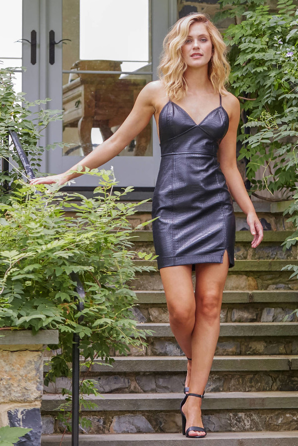 J.o.a. Croc Embossed Bodycon Mini Dress Black L