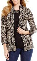 Ruby Rd. Open Front Fringe Hem Sweater Cardigan
