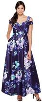 Sangria Cold Shoulder Floral Print Evening Gown with Pockets