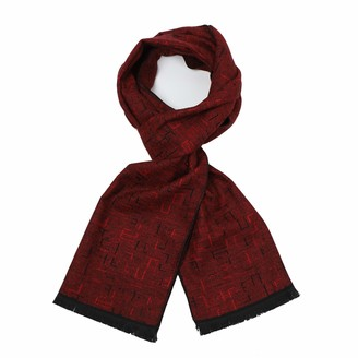 Sy Soul Young Long Cotton Scarf for Men - Warm Fringe Plaid Scarves With Luxurious Gift Box - Red - One size