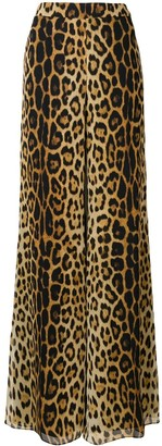 Moschino Flared Leopard Print Trousers