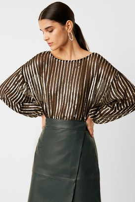 French Connenction Celina Sequin Striped Blouse