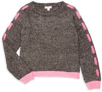 Design History Girl's Lace-Up Sleeve Cropped Sweater
