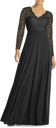 Dessy Collection Long Sleeve Lace & Chiffon A-Line Gown