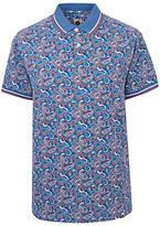 Pretty Green Camley Paisley Print Polo Shirt, Blue
