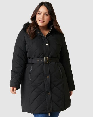 Forever New Curve - Women's Black Parkas - Kaya Curve Longline Faux Fur Puffa - Size One Size, 16 at The Iconic