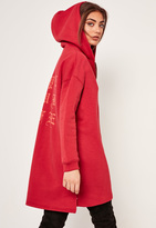 Missguided Red Graphic Zip Front Oversized Hoody