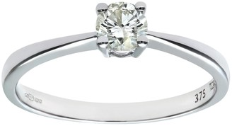 Naava Women's 9 ct White Gold Solitaire Engagement Ring IJ/I Certified Diamond Round Brilliant 0.33ct