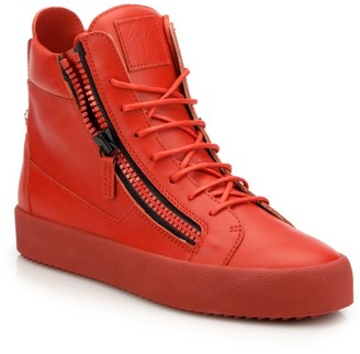 Giuseppe Zanotti Double Zip Leather High-Top Sneakers