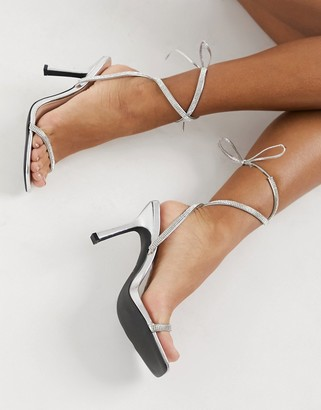 Qupid square toe embellished heeled sandals in silver