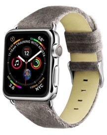 Posh Tech Men's and Women's Apple Gray Wool Velvet, Leather, Stainless Steel Replacement Band 44mm