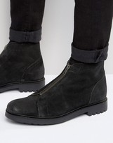 Asos Boots With Zip Front In Black Suede
