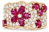 Effy Jewelry 14K Rose Gold Ruby and Diamond Flower Ring, 3.61 TCW