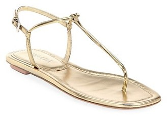 Prada Flat Metallic Leather Thong Sandals