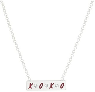 Alex and Ani 19 Gossip Girl, Xoxo Adjustable Bar Necklace (Shiny Silver) Necklace