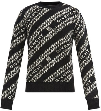 Givenchy Chain-jacquard Wool-blend Sweater - Black White