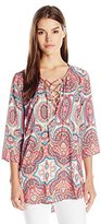 Show Me Your Mumu Women's Lulu Lace up Printed Tunic Top