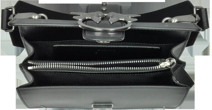 Pinko Mini Love Black Matte Leather Shoulder Bag