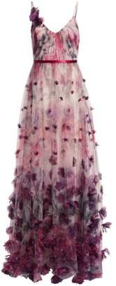 Marchesa Floral Applique Ball Gown