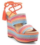 Schutz Bendy Crochet Lace-Up Wedge Platform Sandals