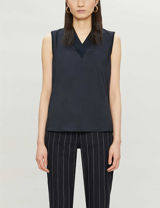 Ted Baker Sleeveless satin-trim knitted top