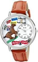 Whimsical Watches Horse Racing Tan Leather and Silvertone Unisex Quartz Watch with White Dial Analogue Display and Multicolour Leather Strap U-0810017