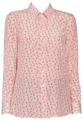 Saint Laurent Star Print Silk Button Down Blouse