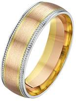 Theia His & Hers 14ct Yellow and White Gold Two-Tone 6mm Millgrain Matt Wedding Ring - Size W