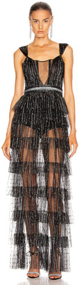 AADNEVIK Layered Sparkle Gown in Black | FWRD