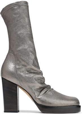 Rick Owens Metallic Stretch-leather Platform Sock Boots