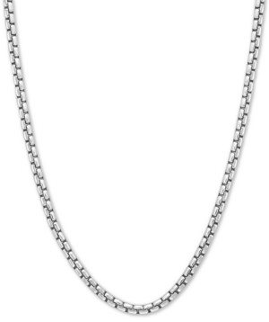 "Effy Rounded Box Link 24"" Chain Necklace in Sterling Silver"