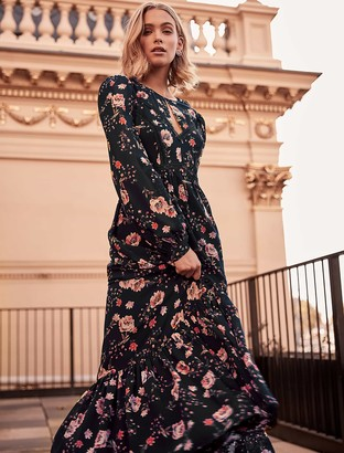 Forever New Celeste Floral Print Maxi Dress - Black Floral Print - 4