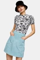 Topshop Blue Suede Pocket Mini Skirt