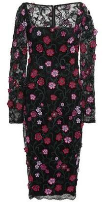 Lela Rose Floral-appliqued Lace Midi Dress