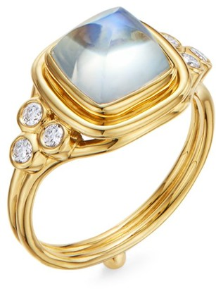 Temple St. Clair High 18K Yellow Gold, Moonstone & Diamond Classic Sugar Loaf Ring