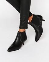 Selected Tallulah Black Leather Kitten Heel Boots
