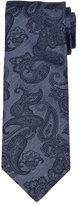 Brioni Paisley-Print Chambray Silk Tie, Blue